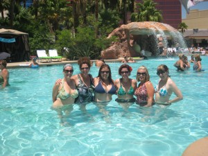 In Vegas at the pool (to my right)
